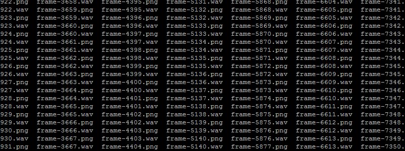 Llistat de fitxers de frames del vídeo en imatges png i samples d'audio en fitxers wav